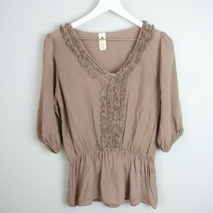 Needle & Thread Cinched Waist 3/4 Sleeve Blouse